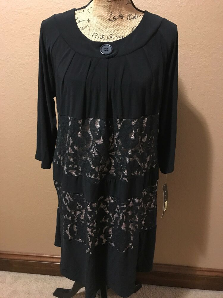 1dfa37598b3 Tiana B. Black 3 4 Sleeve Lace Panel Dress Women s Size 14 NWT Dillard s