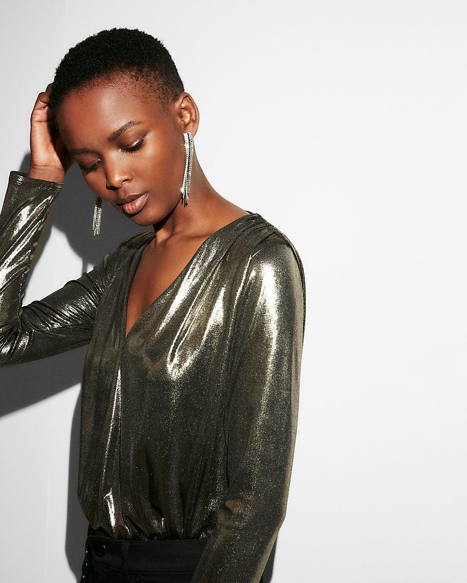 38ad5f2c1b65c This bodysuit shines thanks to smooth metallic fabric and a sexy v-neck and  v-back. Pair with dark skinnies or dress pants for a sizzling look that  stays ...