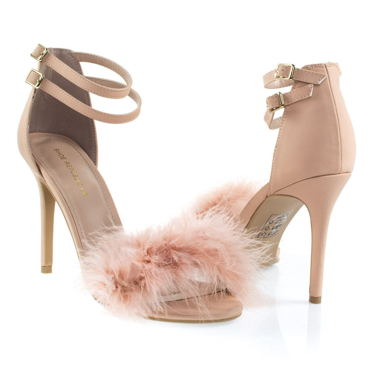 68c7ea50663 About This Shoes  These open toe dress sandal features a fluffy faux fur  toe strap