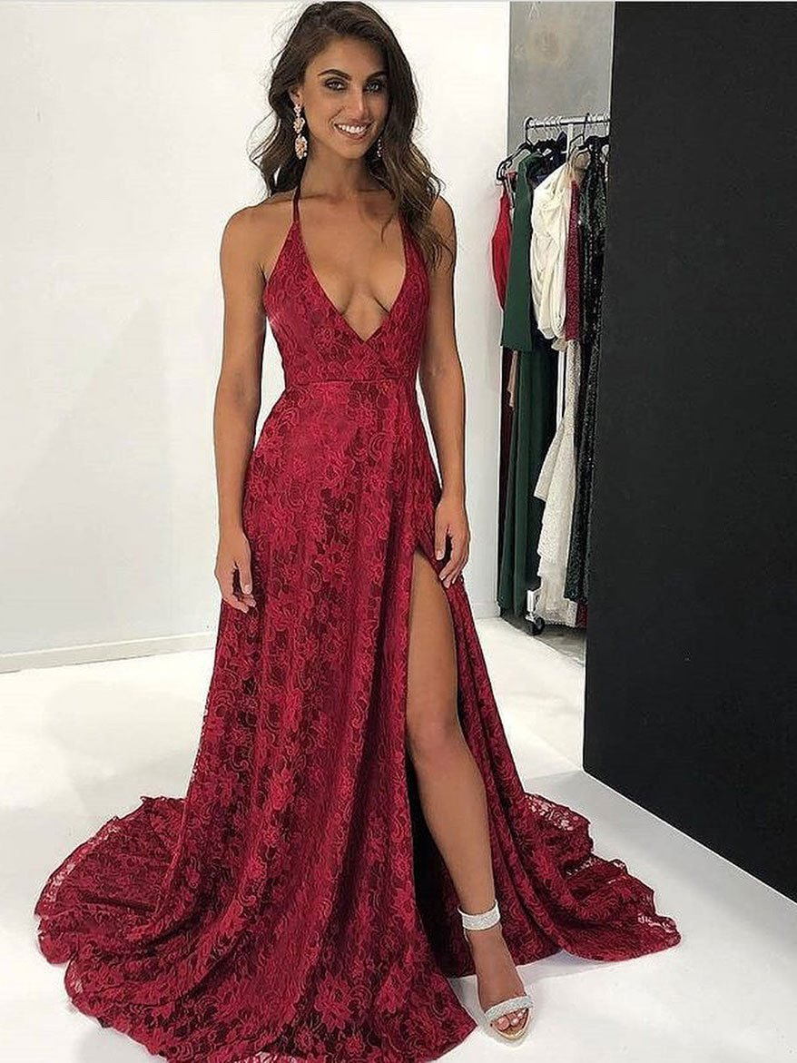 2c55c1fbc5f Elegant Lace Halter Neckline Chapel Train A-line Prom Dresses With Slit  PD151. Long Lace Burgundy ...