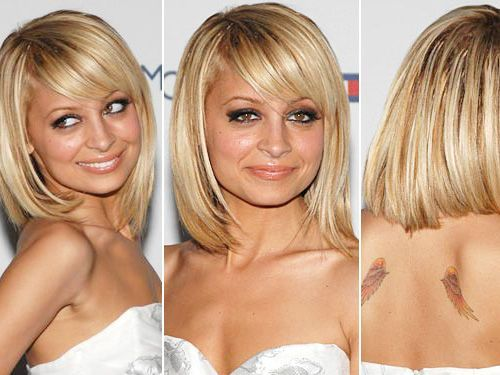 Long Hair Styles With Side Bangs: Nicole Richie Blonde Bob Hairstyle With Side Swept Bangs