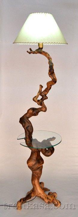 Lampara de pie lpm 107 tronkasa iluminaci n rustica - Lamparas de pie rusticas de madera ...