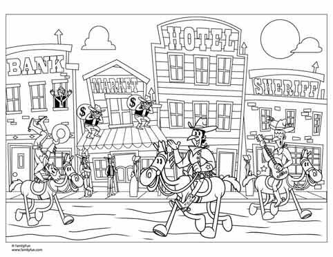 Wild west coloring page printable coloring page spoonful