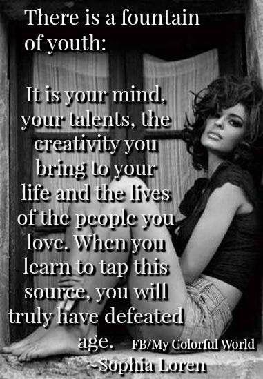There Is A Fountain Of Youth Sophia Loren Sophia Loren
