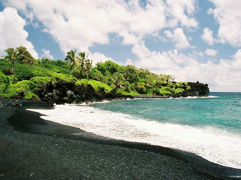 A certain black sand beach on Maui