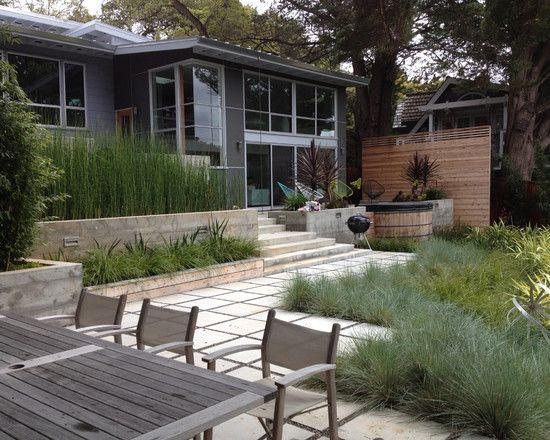 terrasse idee essbereich bambus pflanzen sichtschutz deko gräser ...