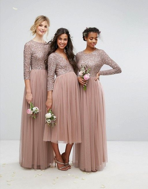 ce6a1f9f2878 Long sleeve sequin and tulle bridesmaid dresses in extended sizes and  maternity styles