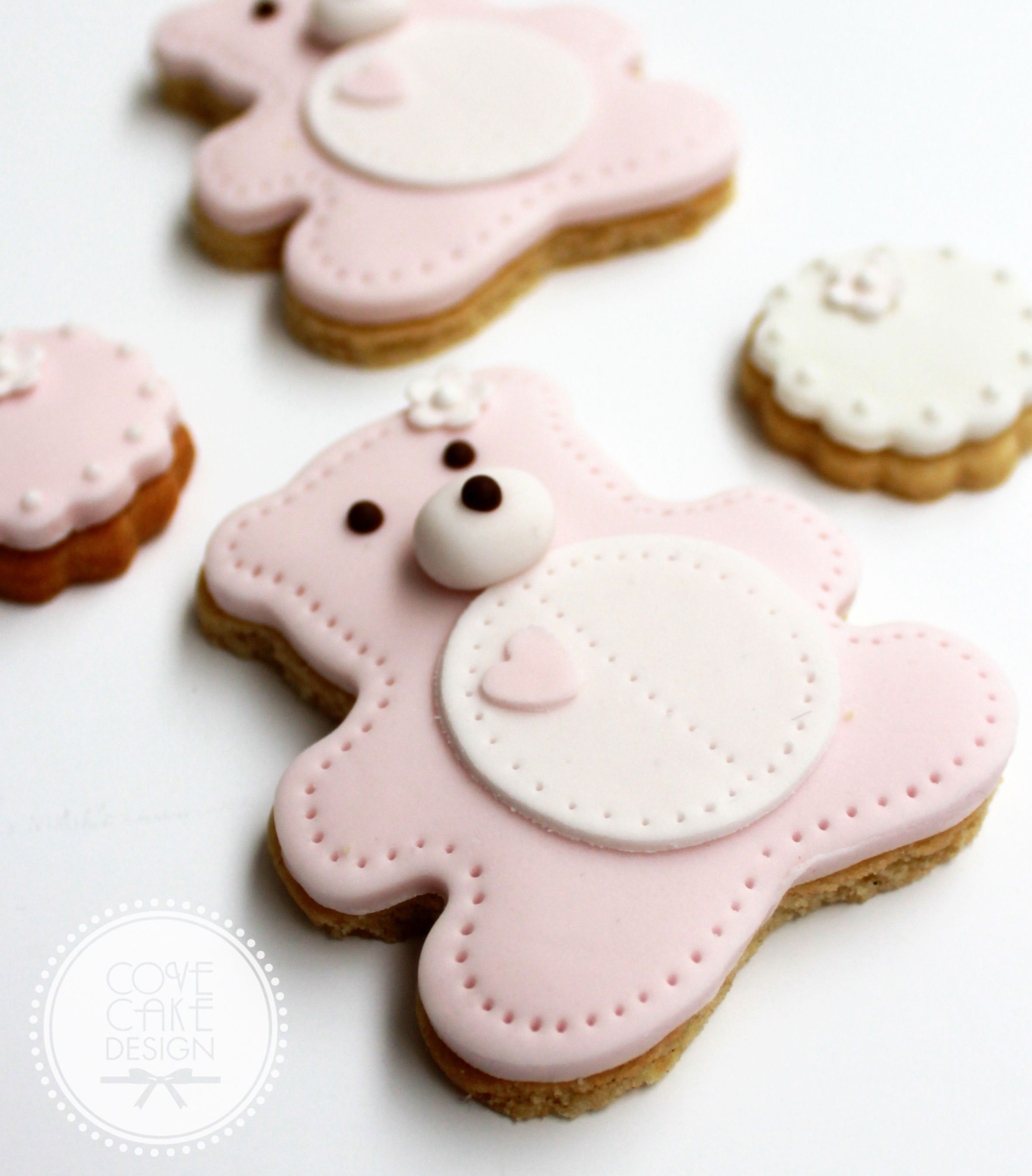 Teddy Bear Sugar Cookies For Baby Girl Christening Or Baby