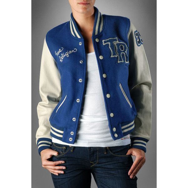 True Religion Brand Jeans - Women's Richie Varsity Letterman's Jacket - Royal Blue found on Polyvore