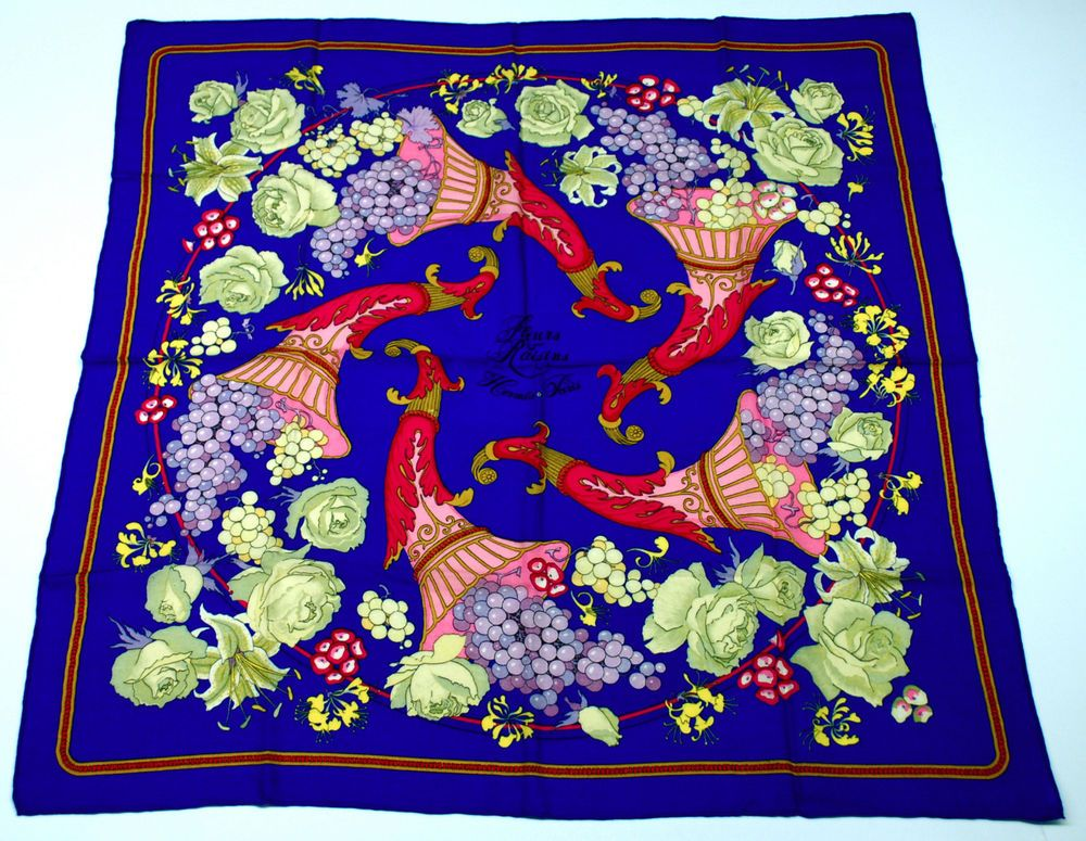 Vintage Hermes Scarf Made in France Fleurs & Raisins Cashmere and Silk #Hermes #Scarf