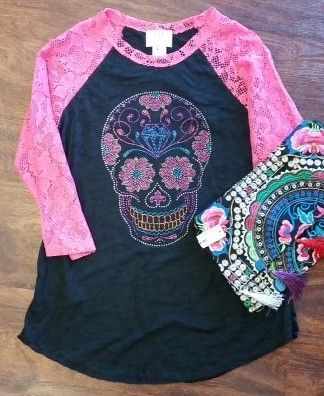 Gypsy Sugar Skull Crochet Baseball Tee