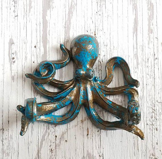 Octopus Wall Hook Octopus Towel Hook Nautical Bathroom Hook Octopus Decor Nautical Wall Decor O Octopus Decor