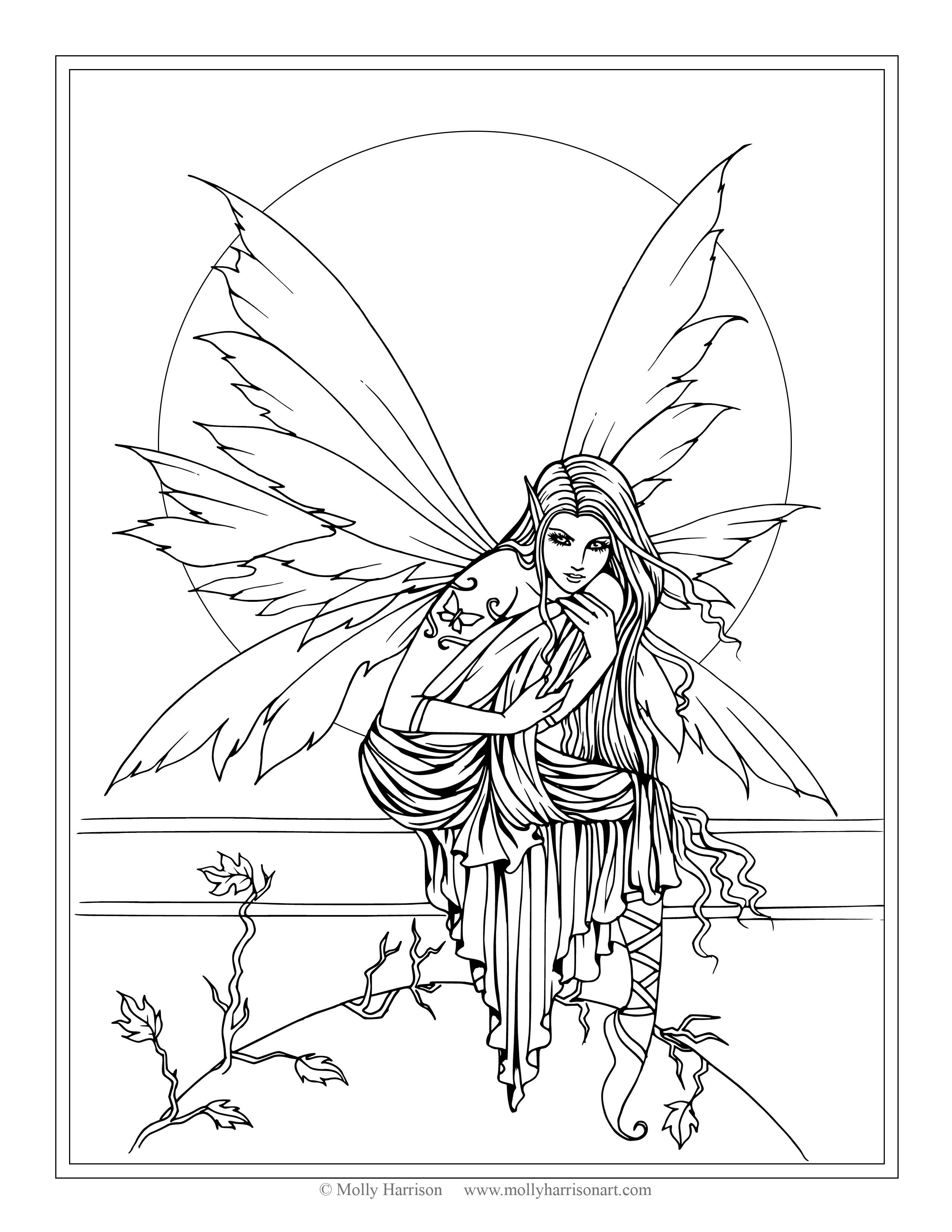 Beautiful Dark Fairies Coloring Pages