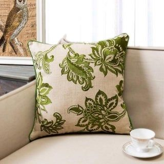 Carson Carrington Ynde Linen Embroidered Floral Throw Pillow (Olive), Green