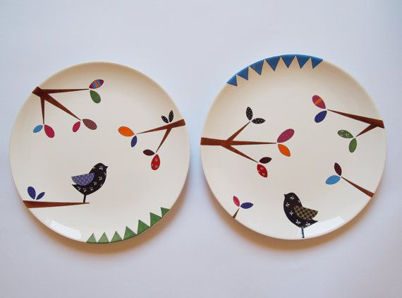 Bird series - Composition of two wall hanging plates & Blue city tea coffee cup   Wall hangings Composition and Hanging ...
