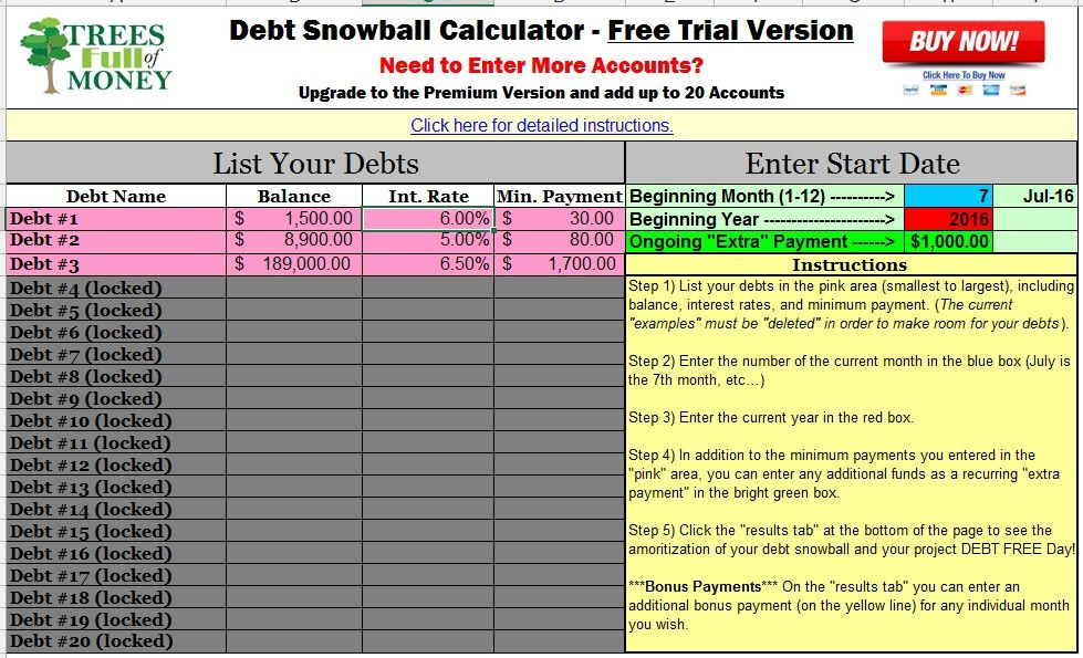 best free debt snowball calculator program excel Money Savers - debt calculator spreadsheet