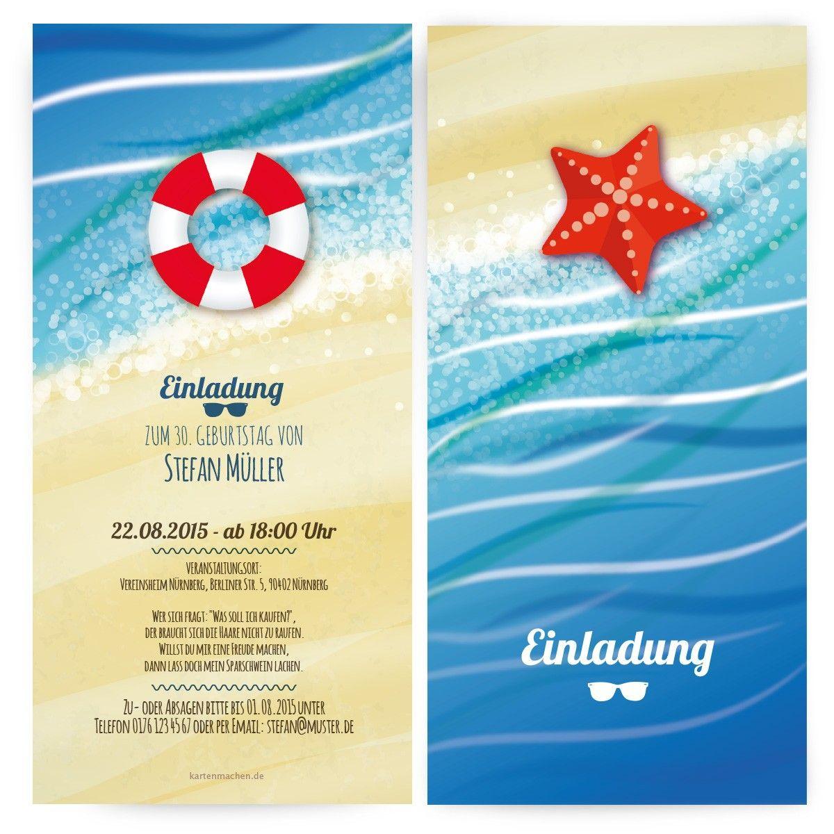 Einladungen Zum Geburtstag   Strand U0026 Meer #geburtstag #einladung  #geburtstagseinladung #strand #