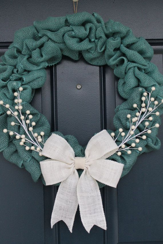 Turquoise blue burlap wreath by columbuscircle on etsy for Burlap wreath with lights