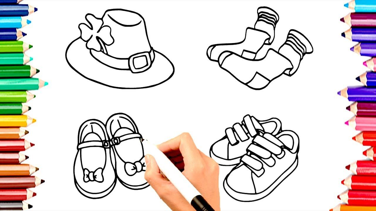 ✏️TEACHING CHILDREN TO DRAW HAT,SOCK,SHOES COLORING BOOK
