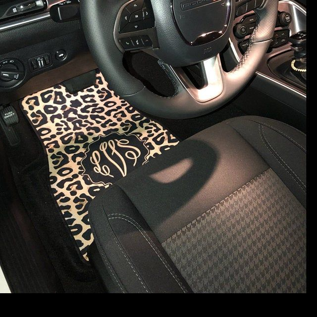 """Be the envy of your friends with our cute Monogrammed Car Accessories! Just imagine how stylish and sassy your ride with be with a custom set of car mats! Lots of designs and patterns to choose from! {PRODUCT DETAILS}  ~ 11oz needle punch  ~ Rubber Durgan Backed  ~ 27"""" x 17"""" (Front set)  ~ 17"""" x 13"""" (Rear set)  ~ Black, finished edges  **Please keep in mind that these are decorative mats, they are not heavy duty. {ORDERING INSTRUCTIONS} Add item(s) to cart. At checkout you will see a box that says """"add an optional note to seller"""" , Please leave all of the following information in the notes box (We highly recommend that you copy & paste the below into the notes, to make sure you leave all details. If all details are not left, this will slow your order.) : ** Please leave in notes to seller:  1. Name or Monogram - EXACTLY as it is to appear!  2. Choose your monogram or font style  3. any special notes to me? {PROOFS} You must request a proof in the notes if you would like one. You will receive your proof through Etsy convo within 1 to 2 days. If we do not hear from you after three days from the date of mailing the proof we will proceed with the proof that was provided.  {IMPORTANT TO NOTE}  Please read ENTIRE listing as well as policies prior to purchase. We do NOT accept returns on personalized items, so please ask any questions prior to purchase. If expedited processing or shipping is needed, contact me. Once we receive your order, we are not responsible for any cancellations, duplications, changes or additions. Some items begin production immediately. Alterations or cancellations, if they are still possible at that point in your order, will incur extra charges along with any other costs incurred up to that point in production. Patterns and colors shown are meant only to be a close representation of what your product will look like when printed. The different print methods and products will cause colors to vary slightly. We cannot guarantee that the printed product """