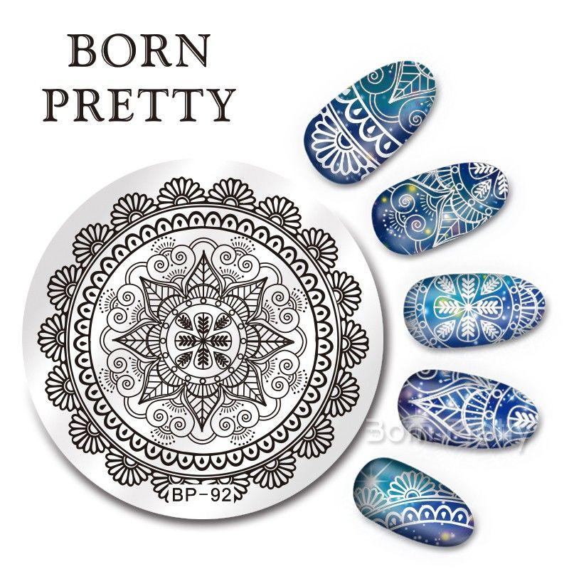 €2.15 BORN PRETTY 5.5cm Rund Nagelkunst Stempel Schablone Arabesque Entwurf Bild…