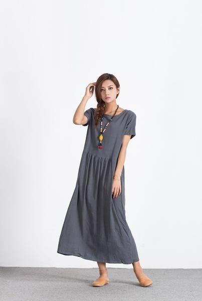 Women s long maxi dress Oversize linen dress Loose cotton caftan
