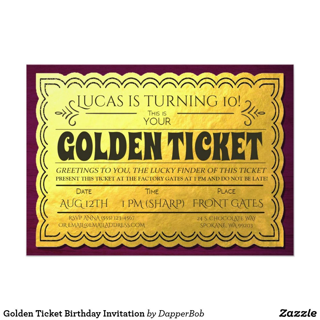 Golden Ticket Birthday Invitation | Golden ticket, Themed birthday ...