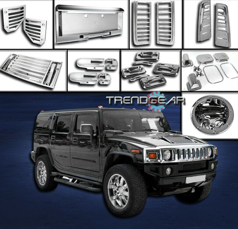 Sponsored Ebay 03 05 Hummer H2 Chrome Cover Trim 36pcs Combo Door Handle Mirror Hood Deck Vent Hummer H2 Hummer Door Handles