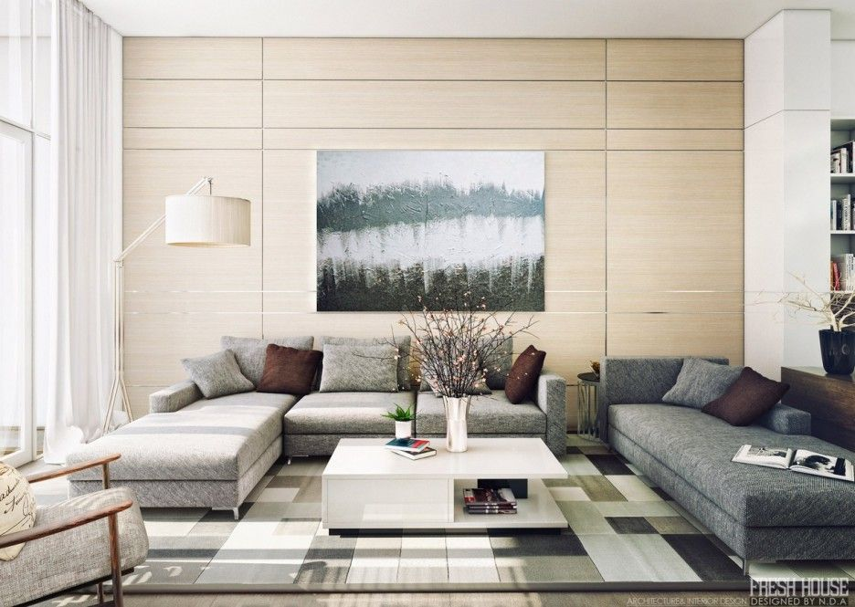 Inspiring contemporary white beige living room design features light wood wall with silver trimming and beige