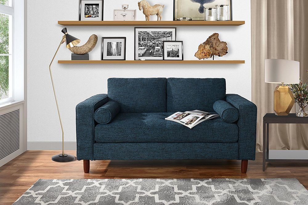 Details About Modern Sofa Loveseat With Tufted Linen Fabric