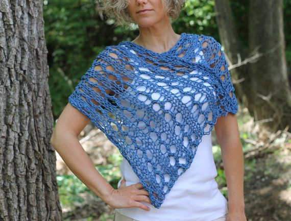 Sale REDY To SHIP  Hand Knit Spring Summer Shawl by KnitPlayLove