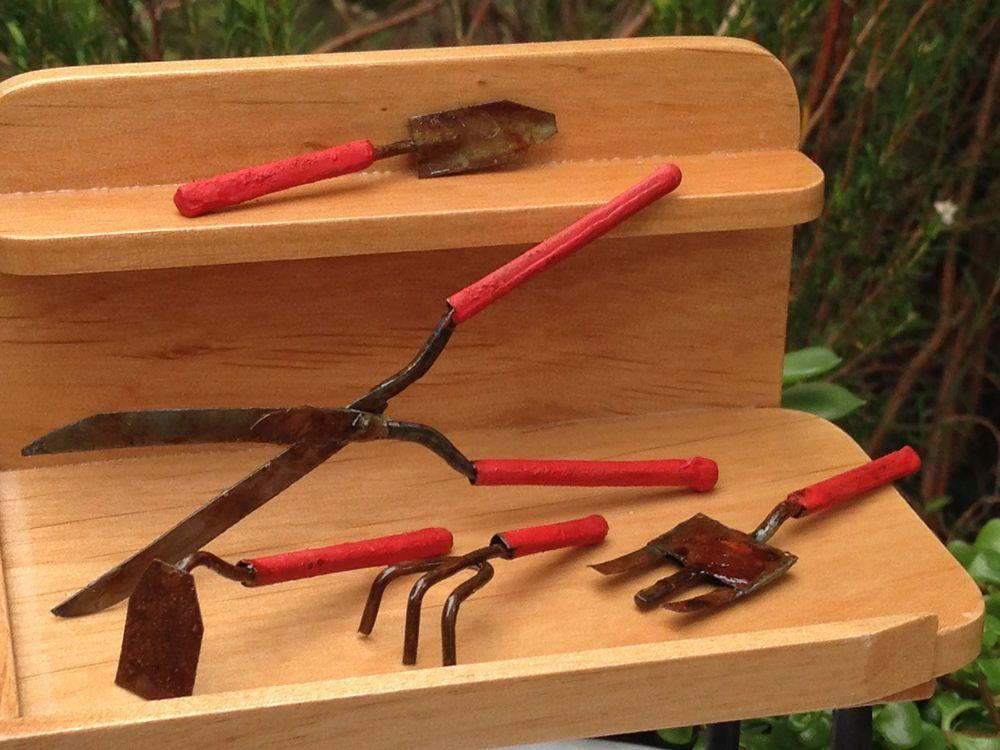Miniature Dollhouse FAIRY GARDEN Accessories ~ 5 Piece Rustic Tool Set ~ NEW