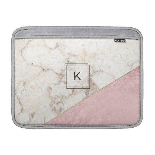 Monogram Elegant Marble Minimalist Rose Gold MacBook Air Sleeve   Zazz