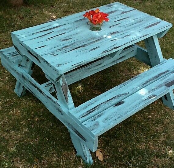 Shabby Chic Distressed Turquoise Painted Kids Picnic Table Diy Makeover Upcycle Painted Picnic Tables Picnic Table Makeover Picnic Table