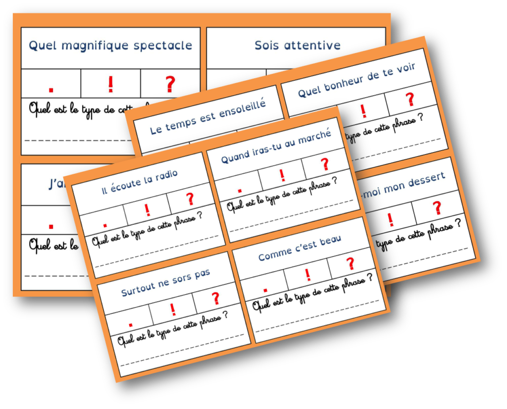 Cartes à tâches sur les types de phrases   Types de ...