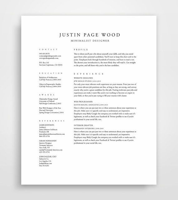 Classical Professional Resume Template With A Two Column Format