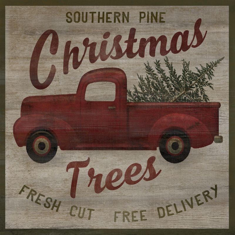 Old Red Truck With Christmas Tree In Back.A Southern Christmas A Southern Christmas Christmas