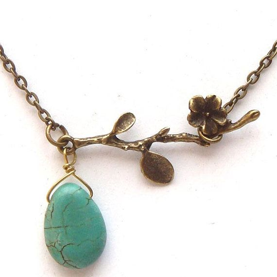 Antiqued Brass Branch Turquoise Necklace. $9.99 USD, via Etsy.
