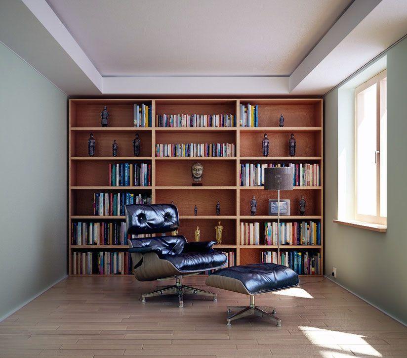 Biblioteca em Tons Neutros, Estantes em Madeira e Poltrona de Couro Preto.