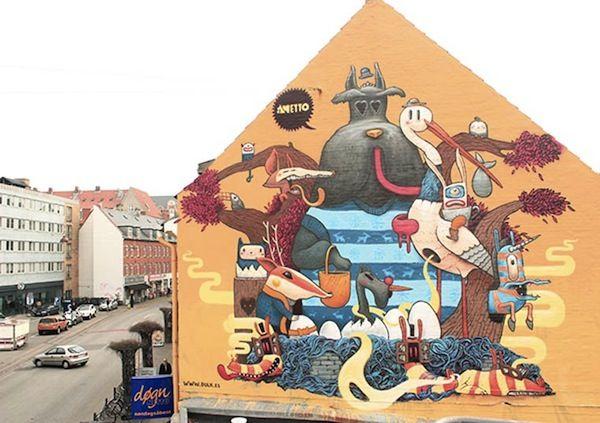 Wonderful Street Murals Featuring Strange, Colorful Hybrid Creatures - DesignTAXI.com  by Dulk