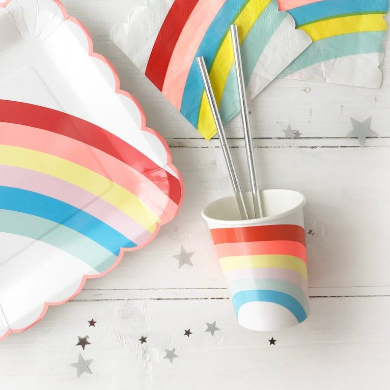 Rainbow Paper Cups 12 Pack Rainbow Theme Party Cups Unicorn Theme My Little Pony Party Decorations Colourful First Birthday Tableware Rainbow Theme Party Little Pony Party