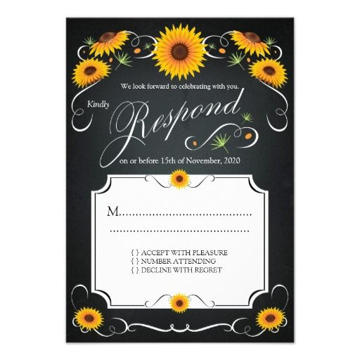Sunflower Floral Chalkboard Vintage Wedding RSVP Card | More Wedding ...