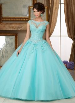 3627e80667f Ball-Gown Scoop Neck Floor-Length Tulle Quinceanera Dress With Beading  Appliques Lace (0215105198)