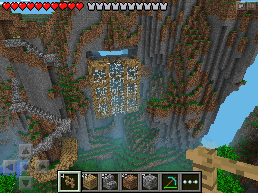 (W2) House Coming Out Of The Cliff In Minecraft PE