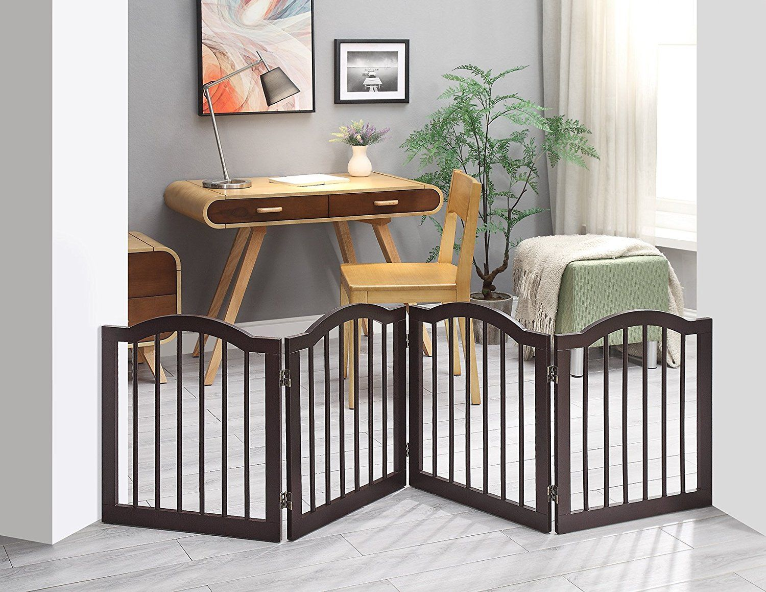 Unipaws Freestanding 24 Step Over Dog Gate Wsupport Feet