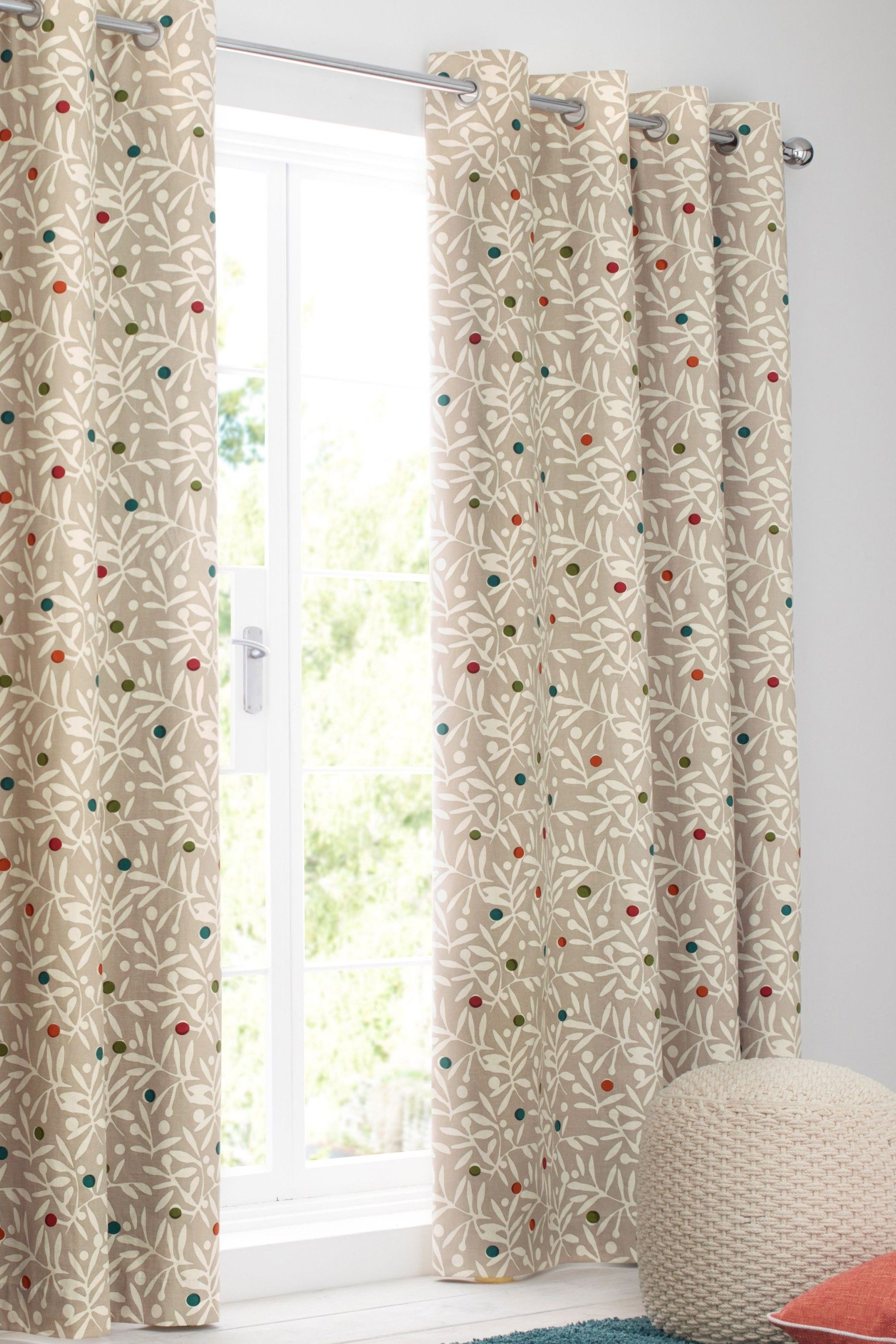 a9f05fb0a6 Next Berry Sprig Print Eyelet Curtains - Natural | Products ...