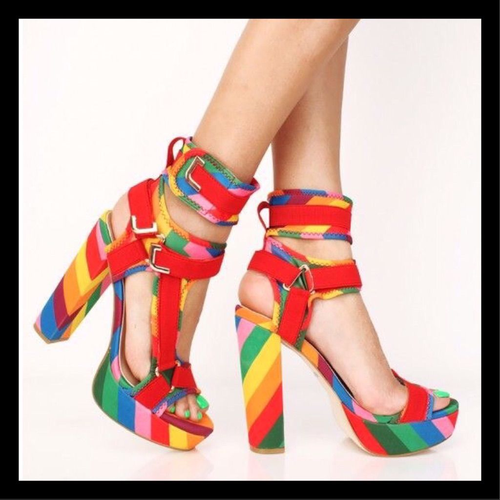 8cd694c9f891f Pazzle Shoes | Red Rainbow Lycra Chunky Platform Heels | Color: Red | Size:  Various
