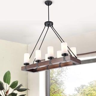 rectangular wood chandelier farmhouse shop for daniela antique black linear rectangular wood chandelier with frosted glass globes get free shipping at overstockcom your online home decor