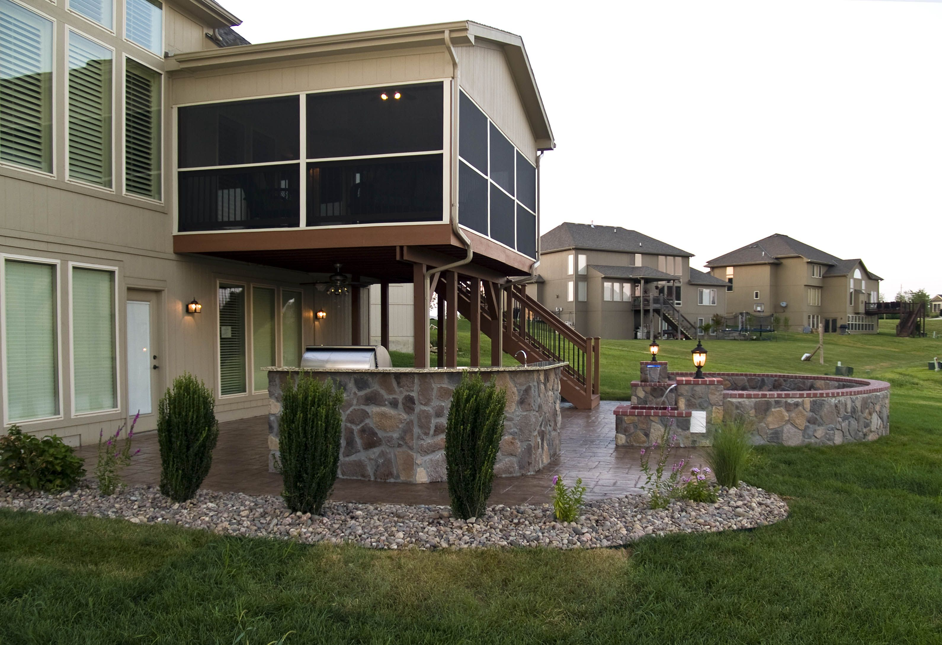 Gable Covered And Screened Evergrain Deck Stone Walls