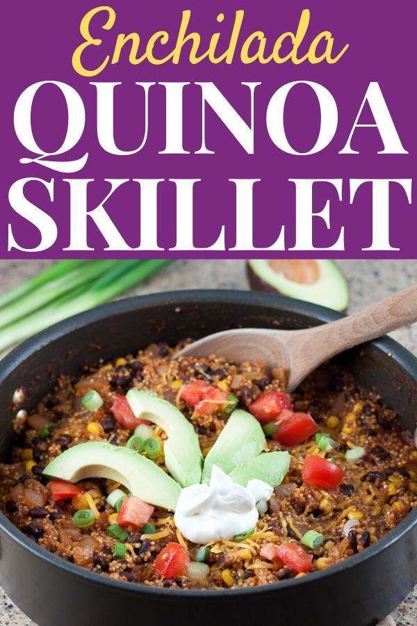 Enchilada Quinoa Skillet Recipe  This onepot Enchilada Quinoa Skillet recipe is a meatless healthy 30minute meal perfect for bus